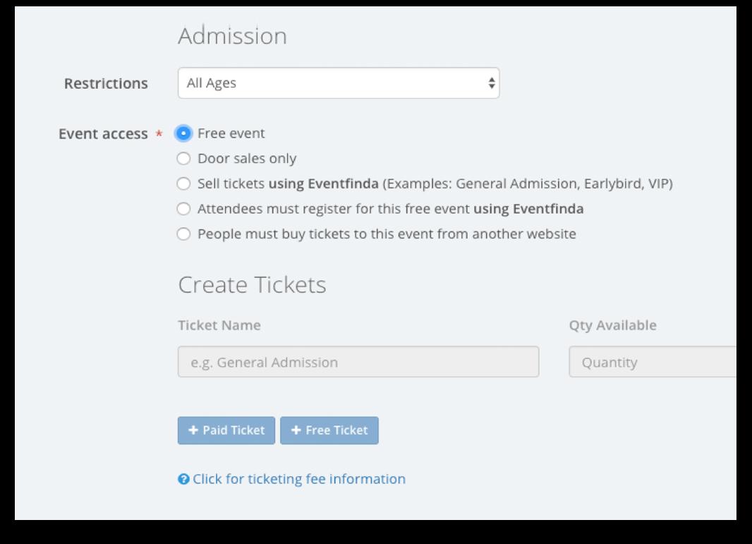 Create an event – Eventfinda